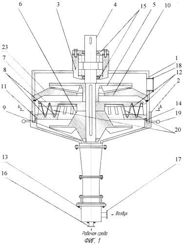 Акустический проходной аппарат роторного типа с регулируемым зазором
