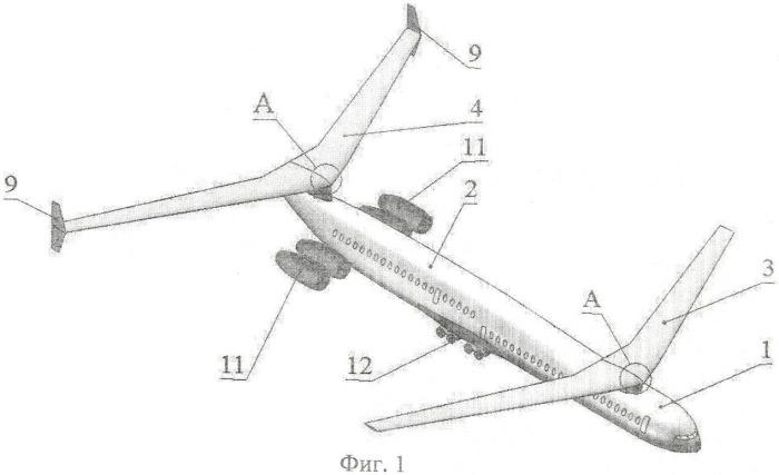 Двухпалубный самолет с поворотными крыльями и разнесенным вертикальным оперением