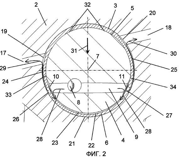Система коромысла клапана с содержащим паз вкладышем подшипника