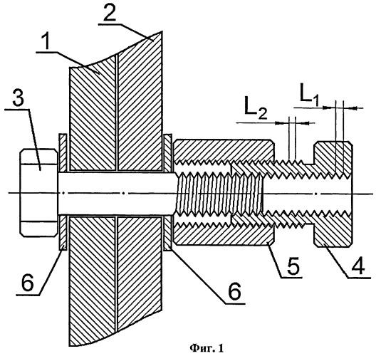 Узел резьбового соединения конструктивных элементов и гайка (варианты)