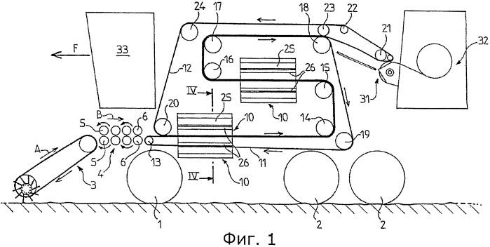 Машина для паковки в кипы волокнистых растений, в частности льна, конопли и сизаля