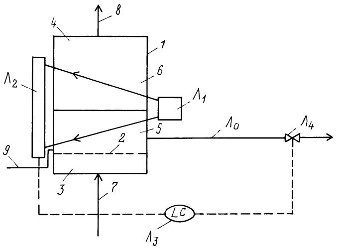 Барботажный колонный реактор с устройством определения уровня и способ определения уровня в нем