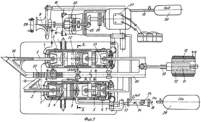 Двигатель электромобиля с приводом от турбоэлектрогенератора