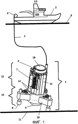 Герметизированное соединительное устройство для труб, предназначенное для установки для бурения, расположенной на дне моря
