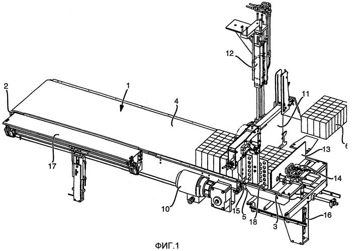 Устройство для упаковки предметов на приводном конвейере