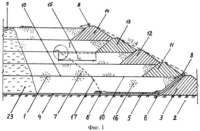 Способ поярусного складирования зернистых отходов в гидроотвал, дренированный у основания пляжной зоны