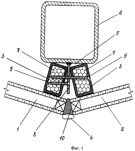 Узел крепления облицовочных плит кассетного типа и облицовочная плита, используемая в нем