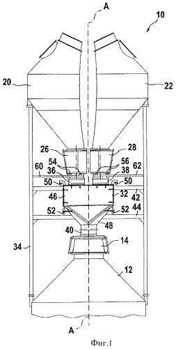 Трехбункерная загрузочная установка для шахтной печи