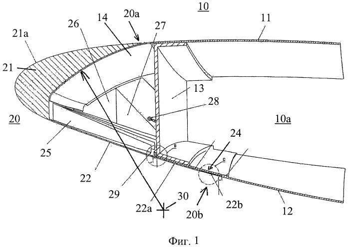 Поворотный элемент для увеличения подъемной силы, в частности отклоняемый носок для крыла с высоким аэродинамическим качеством