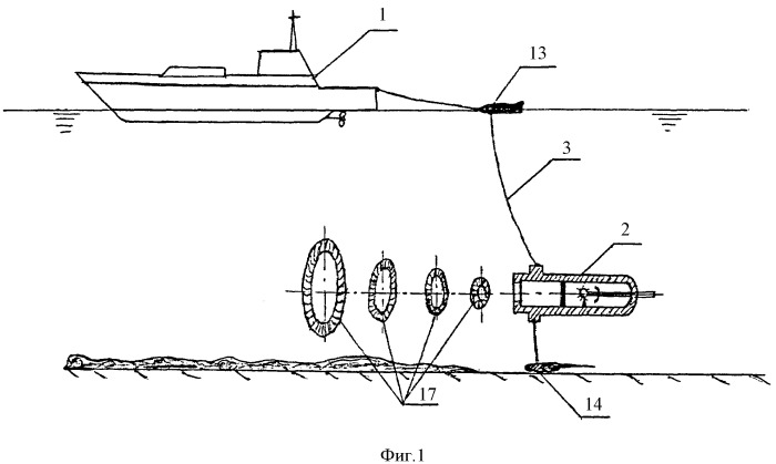 Способ траления морских мин и устройство для его осуществления