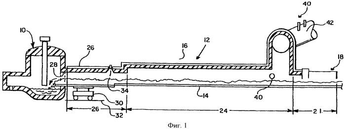 Устройство для сжигания газа, выходящего из электрической дуговой печи, для предварительного нагрева металлолома, поступающего в указанную печь, и связанный с этим устройством способ