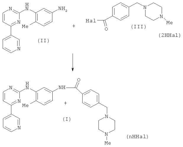 Способ получения иматиниба в виде свободного основания или в виде кислотно-аддитивной соли