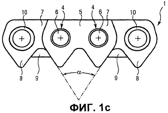 Зубчатая цепь с оптимизированным соединением звеньев и увеличенным углом между внешними поверхностями зубчатой пластины