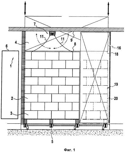 Установка для температурной обработки изделий, расположенных на поддоне или ином подобном устройстве