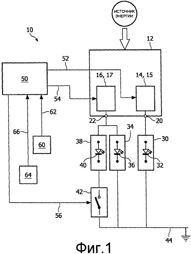 Устройство снабжения энергией световых элементов и способ подвода мощности к световым элементам