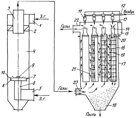 Система аспирации с аппаратом взп и каркасным фильтром