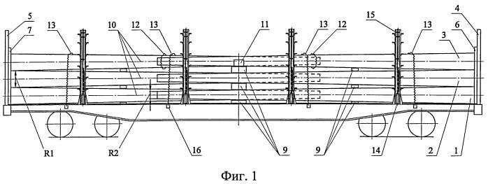 Способ укладки длинномерных грузов с различной величиной противоположных торцов