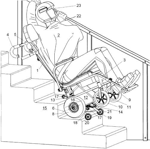 Способ перемещения человека с дисфункцией нижних конечностей в самоходной коляске на лестнице с поручнями