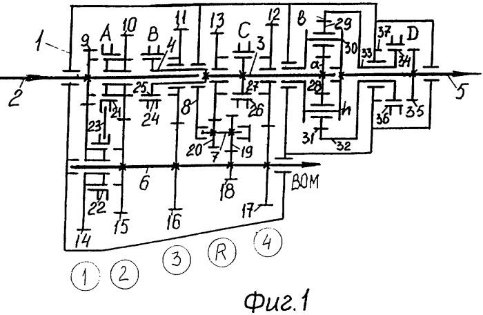 Двенадцатиступенчатая соосная вально-планетарная коробка передач