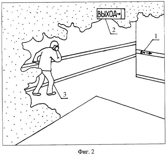Способ эвакуации из среды с огнетушащим аэрозолем за счет направляющих фотолюминесцентных систем