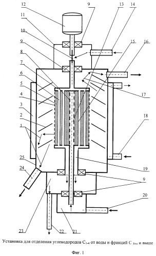 Установка для отделения углеводородов c1-4 от c5 и выше и воды