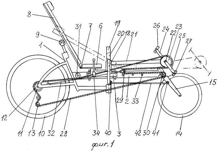 Велосипед с педалированием и движением академической гребли