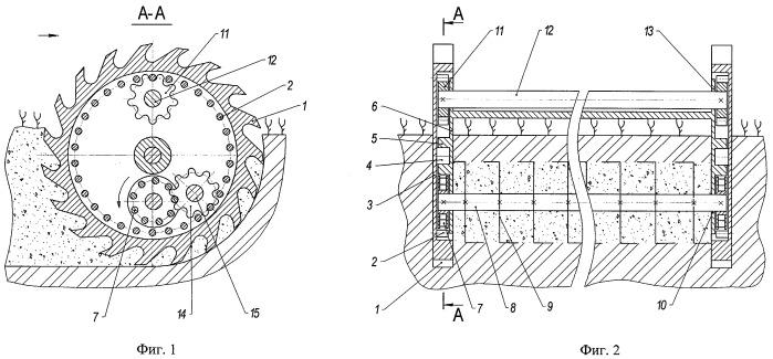 Механический привод ротационного рыхлителя внутреннего слоя грунта
