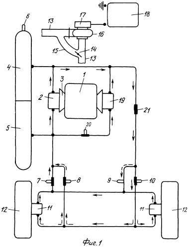 Гибридная пневмовакуумная силовая установка транспортного средства