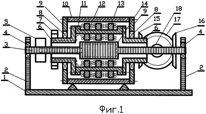 Электрогенератор с встречно вращающимися индуктором и якорем