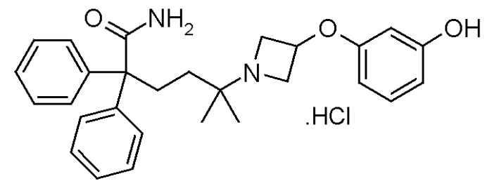 Гидрохлоридная соль 5-[3-(3-гидроксифенокси)азетидин-1-ил]-5-метил-2,2-дифенилгексанамида