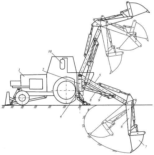 Энергосберегающее рабочее оборудование одноковшового экскаватора на поворотной колонке