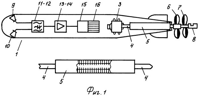 Акустическая самонаводящаяся торпеда с пониженным шумом двигателя
