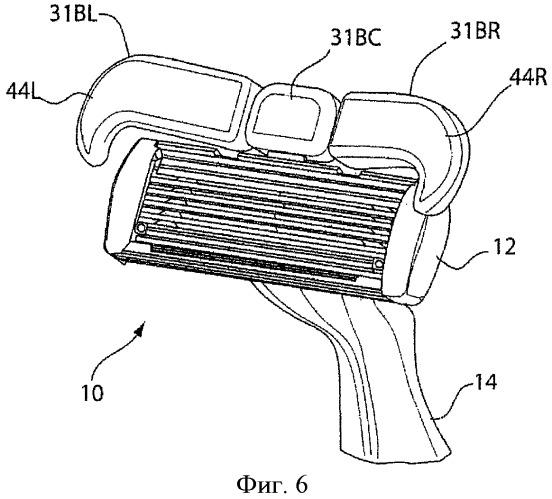 Бритвенный станок с крыловидным обрамлением средства для бритья