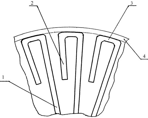 Ротор с п-образными лопатками