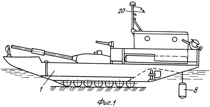 Плавсредство для бронемашин, оснащенное противолодочным оборудованием