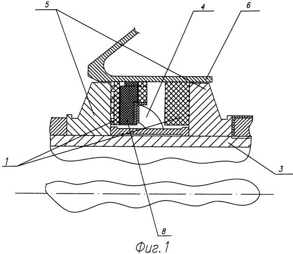 Радиально-торцевое контактное уплотнение опоры турбомашины
