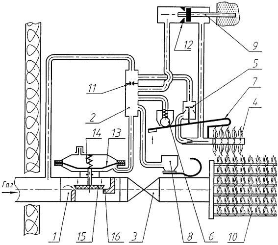 Модулируемая атмосферная газовая горелка