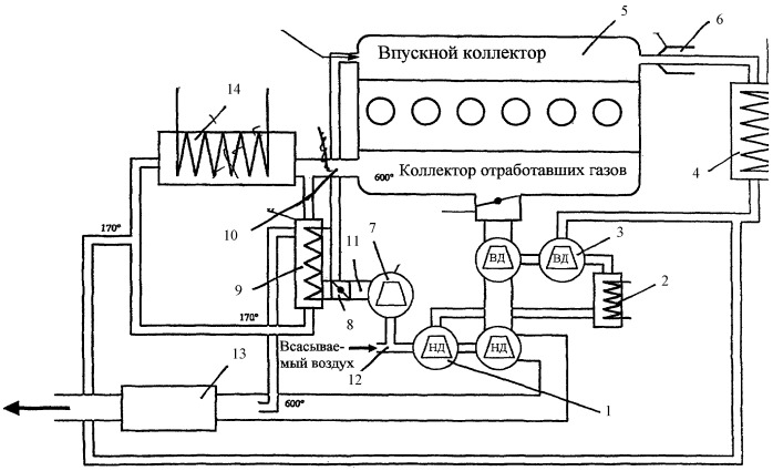 Двигатель внутреннего сгорания с работающим на рециркулируемых отработавших газах охладителем
