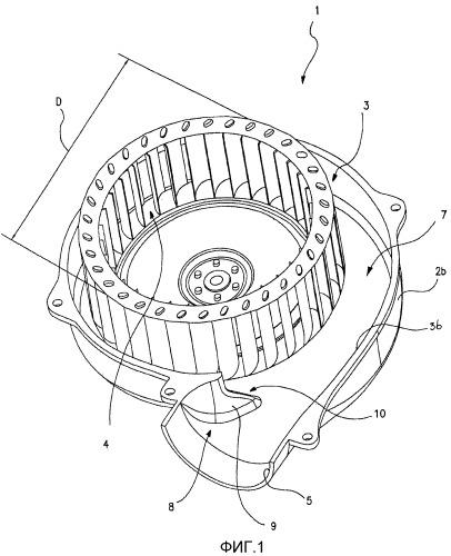 Центробежный вентилятор предпочтительно для вытяжных колпаков и вытяжных устройств для дыма