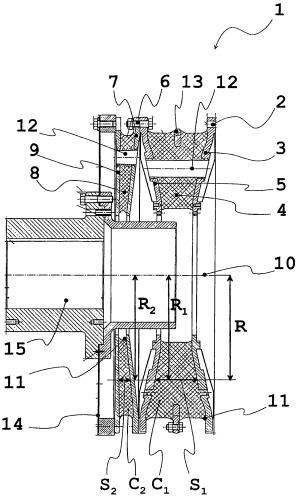 Упругая муфта вала с разными резиновыми элементами