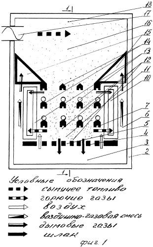 Вертикальная топка пароводогрейного котла для переработки сыпучих видов топлива в тепловую энергию