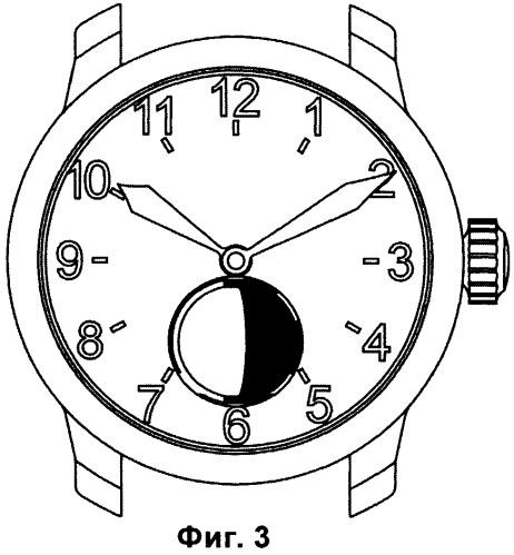 Часы с индикацией лунных фаз на циферблате (варианты) и способ индикации лунных фаз на циферблате часов