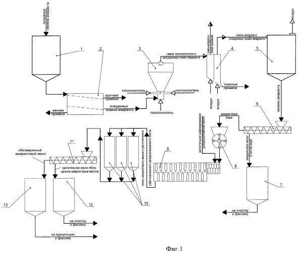 Способ безотходной переработки семян амаранта и технологическая линия для его осуществления