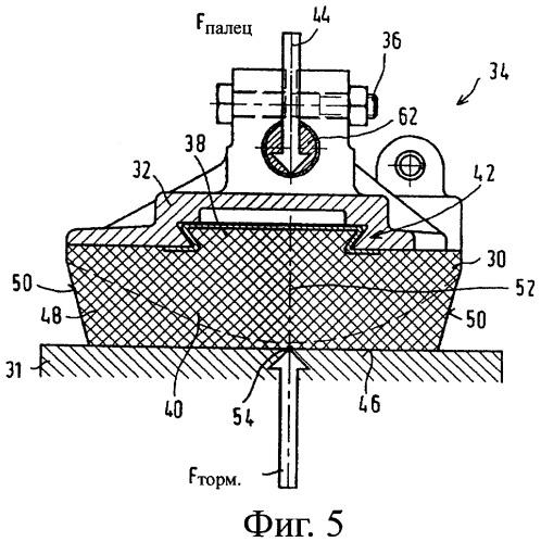 Тормозное устройство рельсового подвижного состава с самостабилизирующимися тормозными накладками