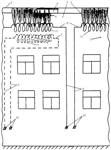 Устройство для удаления сосулек по периметру крыши здания