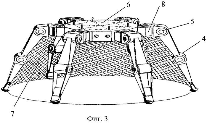 Трансформируемая антенна зонтичного типа космического аппарата