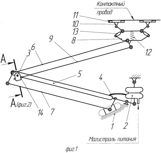 Асимметричный токоприемник для электроподвижного состава