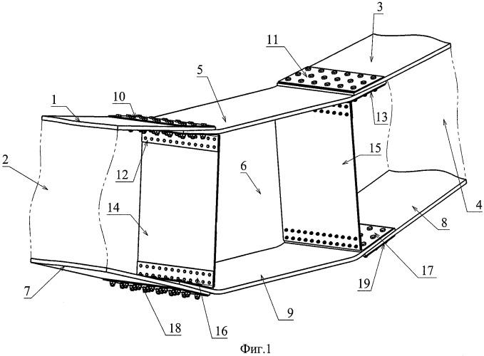 Устройство соединения панелей крыла и центроплана