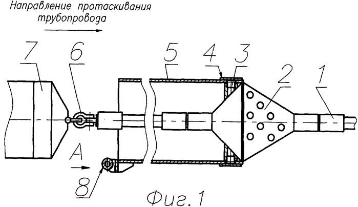 Сборная конструкция для протаскивания трубопроводов в скважинах, выполненных методом горизонтально направленного бурения в неустойчивых грунтах