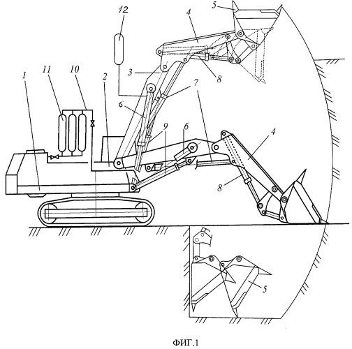 Энергосберегающее рабочее оборудование гидравлического экскаватора прямая лопата